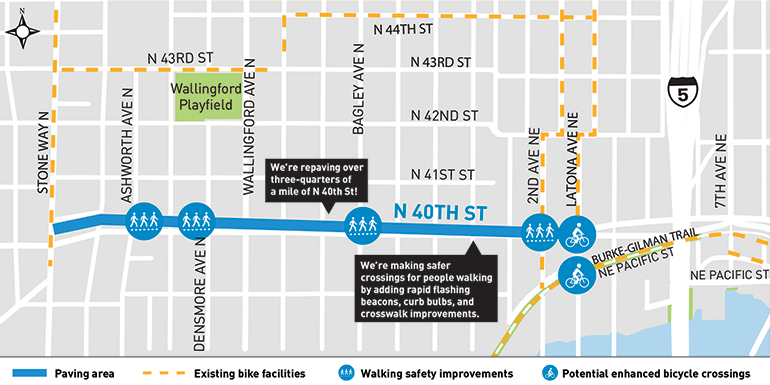 A map that displays the section of N 40th St that will receive a three-quarters of a mile of repaving along the blue line. The map also shows existing bike facilities in the form of yellow dotted lines. The circular images along the blue line show sidewalk and bike connection improvements.